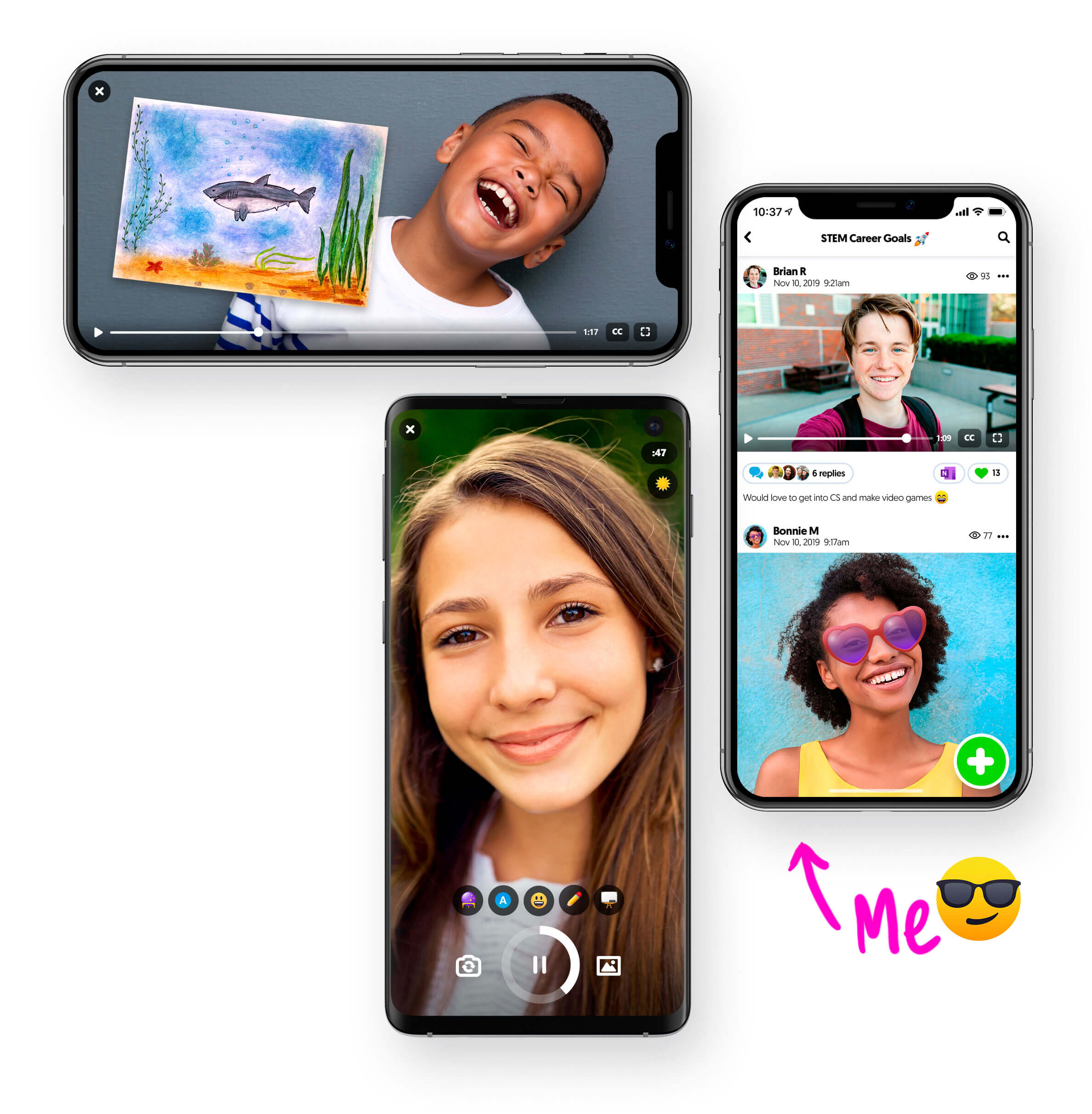 Phones showing Flipgrid