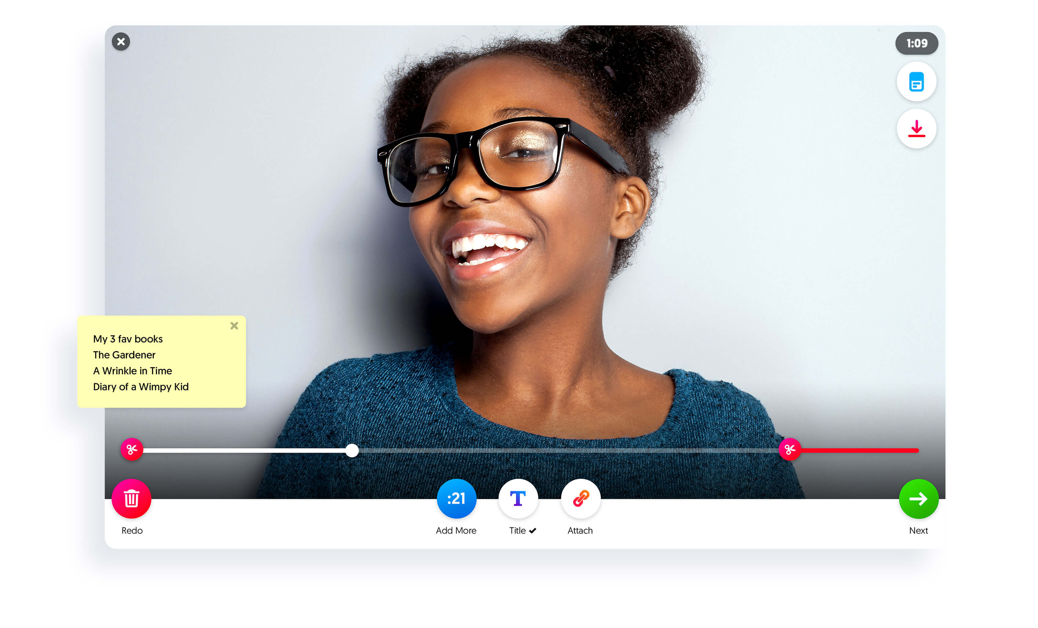 The review step of recording in Flipgrid. On the review step you can view your notes, trim and add more to your video, redo your video, add a title, add an attachment, view the topic card, and download your video.