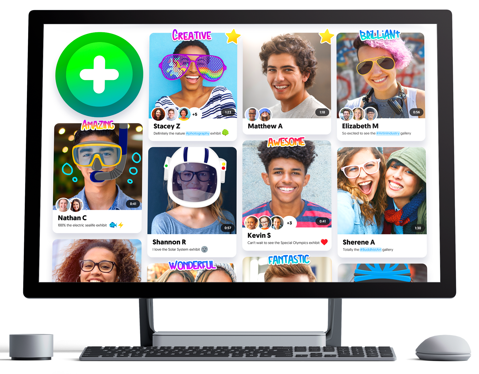 Record button and responses in a Flipgrid Topic on a monitor